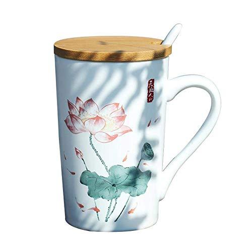 Keramische Kopje Koffie, Elegant Lotus Flower Thee Bekers Met Deksels En Lepel, Creative Home & Office Cadeaus Voor Vrienden En Familie