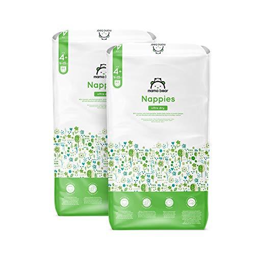 Marca Amazon - Mama Bear Pañales ultra-secos - Talla 4+ (9-15 kg)- Con canales - 160 pañales (2 bolsas x 80) - Nueva versión