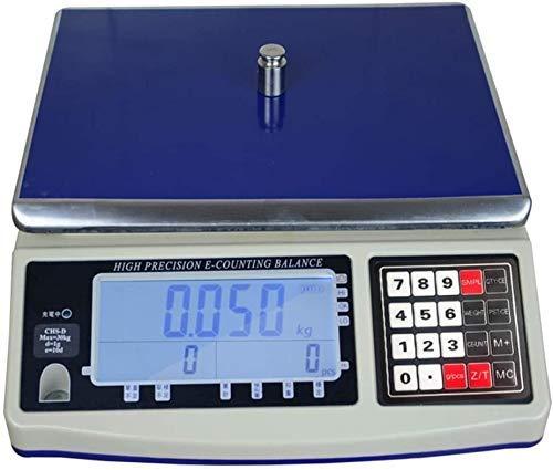 MFLASMF Básculas electrónicas Balanza Industrial electrónica Balanza de conteo de Acero Inoxidable Básculas de Cocina de Alta precisión Pantalla LCD para Tiendas minoristas (tamaño: 50 kg