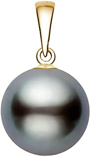 14K Yellow Gold Gray Tahitian Cultured Pearl Pendant for Women AA+ Quality - PremiumPearl