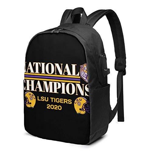 HOIH LSU National Champions 2020 Fußballgeschenk Trendy Travel USB Rucksack, 17 Zoll Computer Business Rucksäcke Studentenrucksack Casual Hiking Daypack