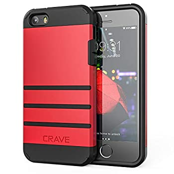 iPhone SE [2016] 1st gen  Case iPhone 5s Case Crave Strong Guard Protection Series Case for iPhone 5 5s SE - Red