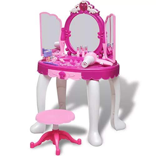 SOULONG Tabella di Trucco,Toeletta con Specchio e Sgabello in Stile Principessa, Tavolo da Trucco con Sgabello Specchiera per Bambina con Luci e Musica, Rosa