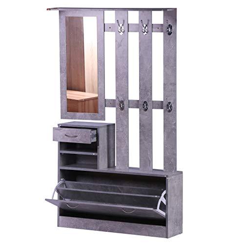 Conjunto de Muebles de Entrada Recibidor Pasillo Set de 3 Piezas Perchero Espejo Zapatero con Cajón 90x22x116cm Madera Gris