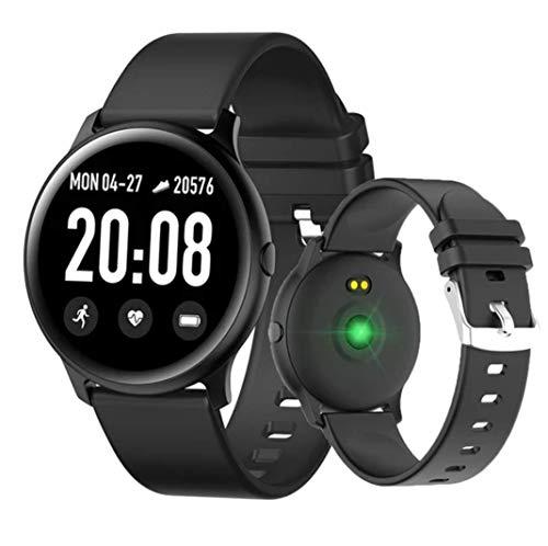 Smartwatch Fitnesstracker voor dames en heren, waterdicht, activiteitstracker met slaapmonitor, hartslag, bloeddruk, stappenteller, compatibel met iOS en Android, M, Blanco Y Gris