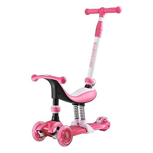 Smmli-Toy Kinderroller, rosa 3-in-1-Roller PU Lightning Wheel-Stoßdämpfer und intelligenter Lenksystem-Roller mit Geräuschreduzierung