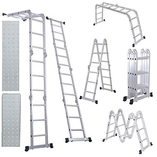 12.5ft Multi-Purpose Folding Extendable Step Ladder Lightweight Scaffold Ladder W/2 Plate 330 Pound Capacity