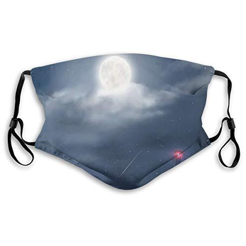 Moda 3D impresión cara revestimientos reutilizables lavables,Ilustración de nubes nocturnas estrellas luna y faro de mar,Bandanas de media cara de polvo transpirable