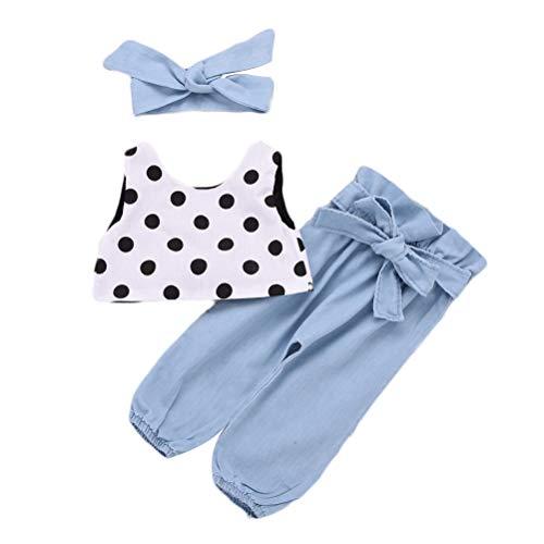 Vêtements De Bébé Fille Polka Dot Gilets Hauts Bow Denim Pantalons Hairband Set 3 Pièces