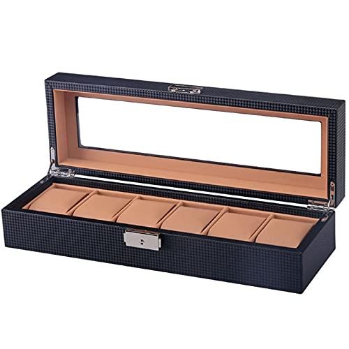 laoonl Caja de reloj personalizada con capacidad para 6 ranuras de PU reloj de almacenamiento de ventana visible caja de almacenamiento como regalo, con forro de terciopelo, cojines y cerradura
