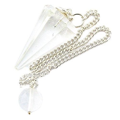 Péndulo cónico de cristal para radiestesia y sanación - gemas naturales genuinas (Cristal De Roca)