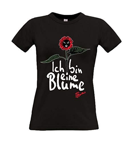 Alligatoah Girly Top Ich Bin eine Blume, Farbe:schwarz, Größe:M