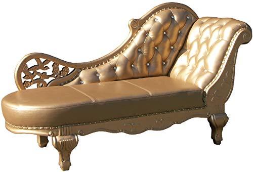 Casa Padrino Barock Leder Chaiselongue Gold 170 x 65 x H. 90 cm - Massivholz Recamiere mit Echtleder und Glitzersteinen - Barock Möbel