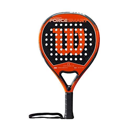 Wilson Carbon Force Smart Pala de pádel, EVA/Núcleo de fibra de carbono, 359 g, apto también para tenis playa, Unisex, Negro/Naranja