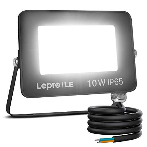 Lepro Foco LED Exterior 10W 850 lúmenes, Foco LED Blanco Frío 5000 K, Ángulo de haz 110°, IP65 resistente al agua, Foco Proyector LED para Jardín, Garaje, Hotel, Patio, etc.