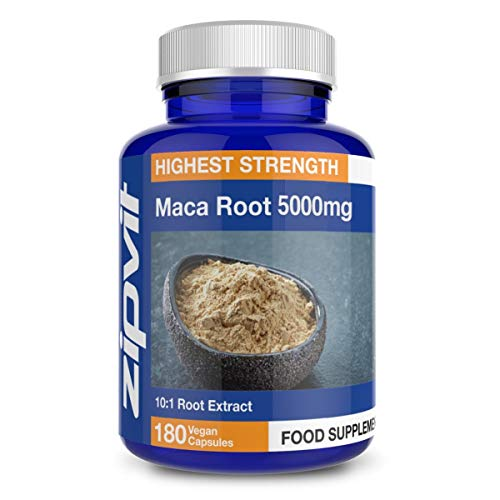 Maca Root Capsules 5000mg, 10:1 Maca Root Powder Extract. 180 Vegan Capsules, 3 Months Supply. Vegetarian Society Approved.
