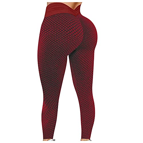 YESIMOLA Butt Lifting Yoga Pants, Women's High Waist Stretchy Ruched Leggings with Elastic Heart-Shaped Bandage (Red,XX-Large)
