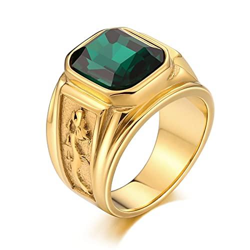 Socoz Anillos de acero dorado, dragón rectangular verde, alianzas de boda, par...