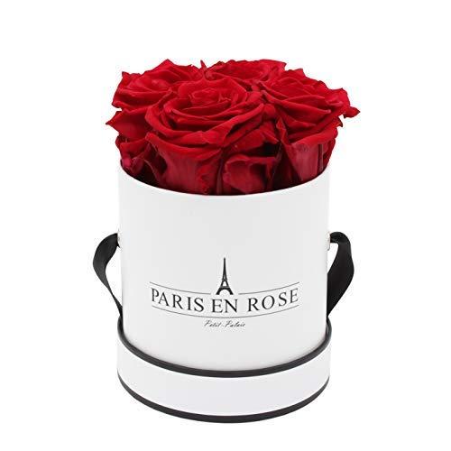 PARIS EN ROSE Rosenbox Petit Palais Bijou | bis 3 Jahren haltbar | Weiß-Schwarz mit bordeauxroten Infinity Rosen | Flowerbox mit 4 konservierten Blumen