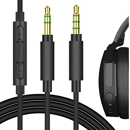 Geekria QuickFit Cable with Mic Compatible with Audio-Techníca ATH-MSR7, ATH-SR5, Piöneer SE-MS7BT Headphones Cable, 3.5mm AUX Replacement Stereo Cord with Inline Microphone (Black 5.6FT)
