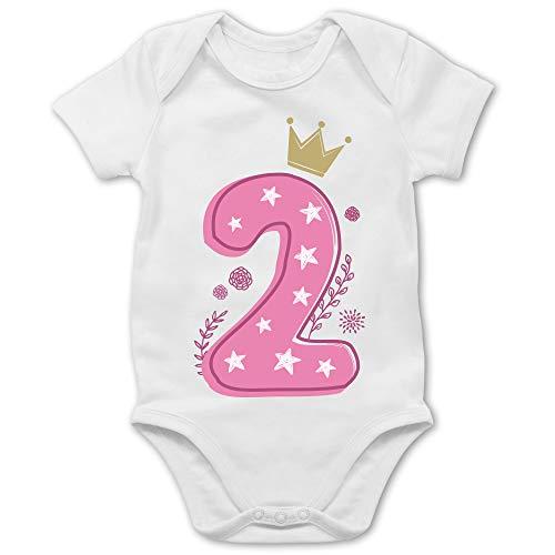 Shirtracer Geburtstag Baby - 2. Geburtstag Mädchen Krone Sterne - 18/24 Monate - Weiß - Baby Body Kurzarm 2 Monate - BZ10 - Baby Body Kurzarm für Jungen und Mädchen