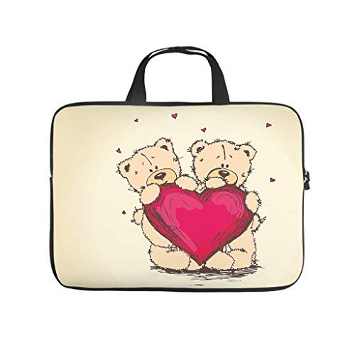 Happy Valentine's Day Beer Laptop Bag Waterproof Laptop Protective Bag Colourful Notebook Bag for University Work Business