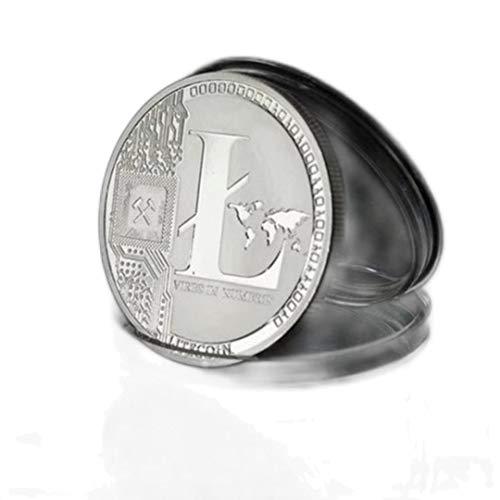 HJKND Moneda Bitcoin Recuerdo Chapado en Oro Regalo Coleccionable bit Ethereum Litecoin Colección de Arte Moneda Conmemorativa física