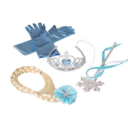 Butterfly Craze Children's Snow Princess 4-Piece Accessory Set – Includes Tiara, Gloves, Wand and Braid – For Ice Queen Dress Up, Costume Parties and Playtime