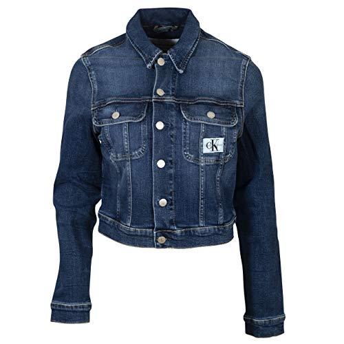 Calvin Klein Jeans Damen Cropped 90'S Jacket Jeansjacke, Denim Dark, XL