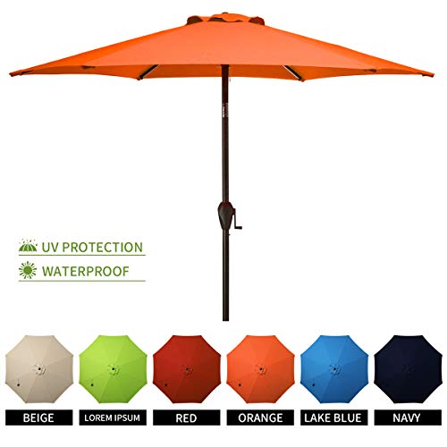 MUCHENGHY Patio Market Umbrellas 9ft UV Protection Large Outdoor Umbrella Sunbrella Wind Resistant with Push Button Tilt and Crank,8 Sturdy Ribs