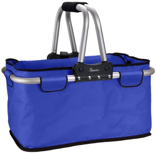 Genius 14110 Einkaufskorb faltbar, Tragegewicht maximal 25 kg, Fassungsvermögen 26 L, Eigengewicht Circa 1,2 kg, blau