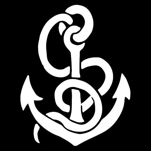WZHLI Anclaje Creativo Art Coche Decoración Etiqueta Etiqueta Pegatina Coche Decoración de Coche Personalidad PVC Calcomanía Negro/Blanco, 18 cm X 14cm (Color Name : White)