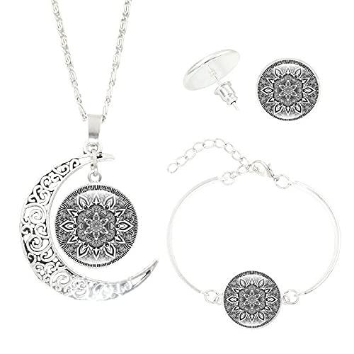 Mandala Flower Moon Glass Gem Collar Set Collar + Pendientes + Pulsera Conjunto De Joyas