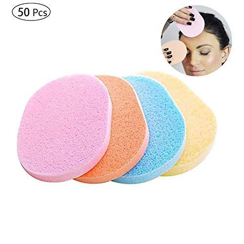shuny 50 PCS Esponjas de Limpieza Facial,Esponjas de Esponja Suave para Limpiar la Cara del Maquillaje(Color al Azar)