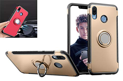 Huawei Honor Play case,Silicone Shockproof Car Magnets Cover TPU+PC Dual Protection 360° Rotating Kickstand case for Huawei Honor Play (Gold)