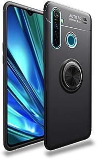 For Oppo Realme 5 Pro Case, Super Slim Soft TPU Case, 4-edge Shockproof Case wtih Color Metal Ring Holder Kickstand/Bulit-...