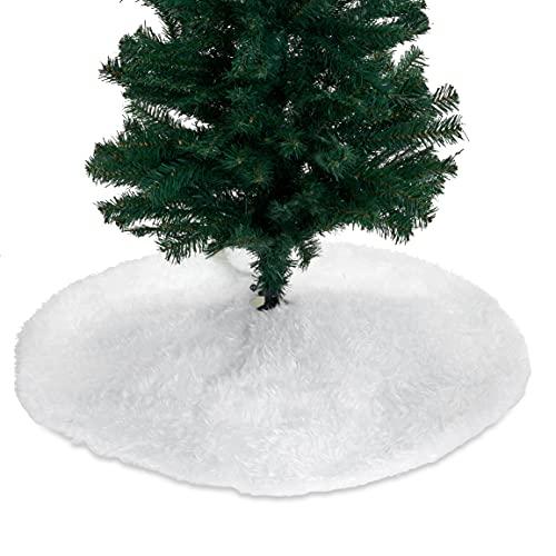 THE TWIDDLERS 90cm Jupe de Sapin de Noël Peluche Blanche, Tapis Sapin Noël, Cache Couvre Pied de Sapin Noël, Décoration Arbre de Noël.