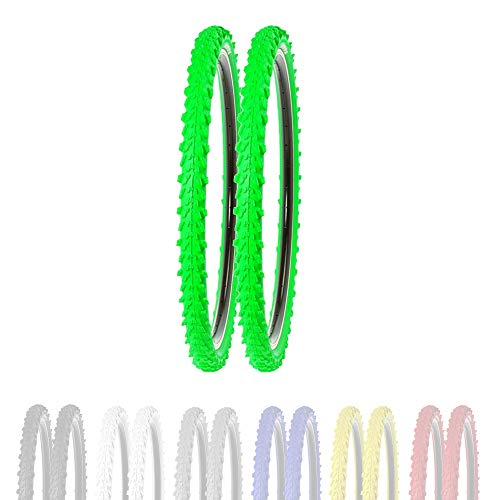 P4B | 2 neumáticos de bicicleta de 26 pulgadas 50-559 en verde | 26 x 1,95 | buen agarre en caminos de campo y terreno suelto gracias a los tacos exteriores e interiores.