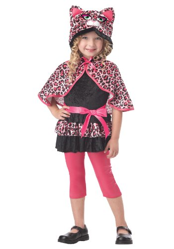 Cutesy Kitty Katze Mädchen Kinder Halloween Fasching Karneval Kostüm Pink leopard (104-116)