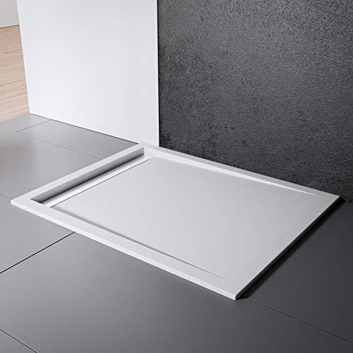 Schulte Duschwanne 90x90 cm, Quadrat extra-flach 2,5 cm, Sanitär-Acryl alpin-weiß, inkl Ablauf mit Rinnenabdeckung weiß und Füßen