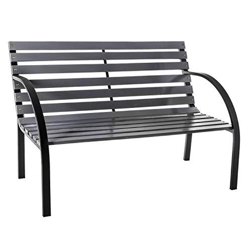 Tuinbank van hout en staal, grijs, 120 x 62 x 82 cm