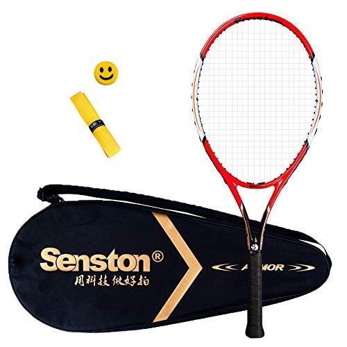 Senston Racchetta da Tennis, Inclusa Borsa da Tennis, overgrip da 1 Pezzo e 1 Ammortizzatore (Colore Casuale) (Grip Size 2 = 4 1/4 inch, 75Red)