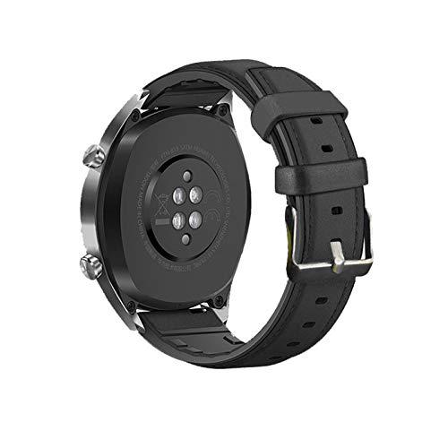 LRJBFC Strap de Silicona de Cuero de 20 mm de 20 mm para el Reloj Huawei GT2E / GT2 46mm Honor Magic 2 Smart Band Pulsera Correas inoxidables para GT 2E (Band Color : Black, Band Width : 22mm)