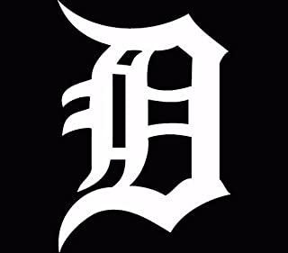 Detroit Tigers Old English D Decal/Sticker White, Die Cut Vinyl Decal for Windows, Cars, Trucks, Tool Boxes, laptops, MacBook - virtually Any Hard, Smooth Surface