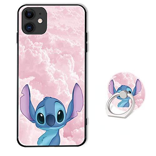 Disney Schutzhülle für iPhone 11 mit Ringhalter und Ständer, weiches TPU-Gummi und Silikon, Schutzhülle für iPhone 11 (6,1 Zoll) – Lilo Stitch Pink Cloud