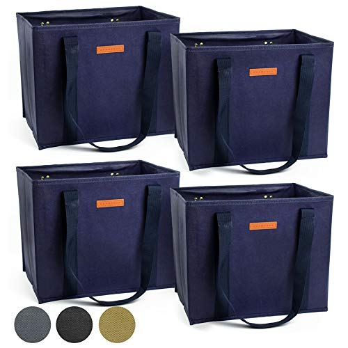 Reusable WASHABLE Grocery Shopping Cart Trolley Bags - set of 4 | Large, Durable, Collapsible Tote with Reinforced Sides and Bottoms (Navy Blue, 4)