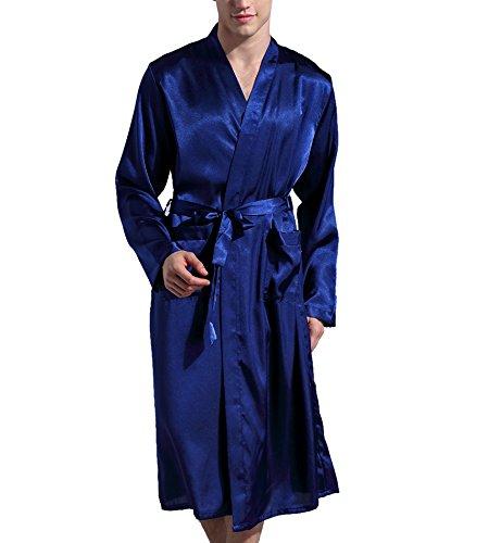 Surenow Männer Herren Satin Hausjacke Kimono Schlafanzug Schlafmantel Schlafkleid Morgenmantel Nachtwäsche Pyjamas Bademantel Nachthemd
