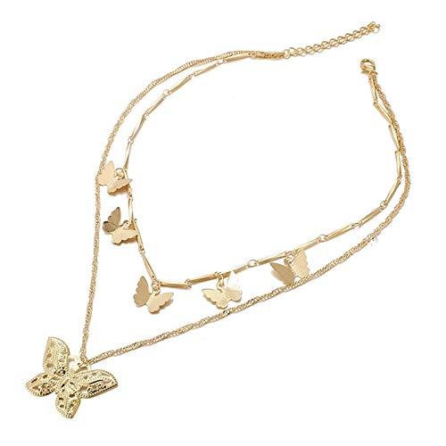 Gold Farbe Frauen Mode Schmetterling Anhänger Doppelschicht Halskette Statement Choker Halskette Für Frauen Schmuck Geschenke