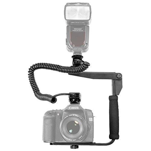 Neewer® - Soporte giratorio rápido para flash y 3 m E-TTLE-TTLII para Canon EOS 5D Mark III, 5D Mark II, 1Ds Mark 6D, 5D, 7D, 60D, 50D, 40D, 30D, 300D, 100D, 350D, 400D, 450D, 500D, 550D, 600D, 650D, 700D, 1000D, 1100D/EOS Digital Rebel, SL1, X3XI, EXT1TI, Speedi y