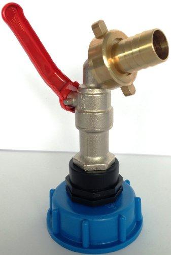 CMTech GmbH Montagetechnik CMS60133MK98 Auslauf Kugelhahn mit Messingtülle + Überwurfmutter, IBC-Container-Zubehör-Regenwasser-Tank-Adapter-Fitting-Kanister